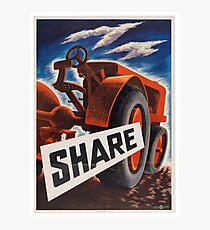 Share - Vintage WW2 Propaganda Poster  Photographic Print