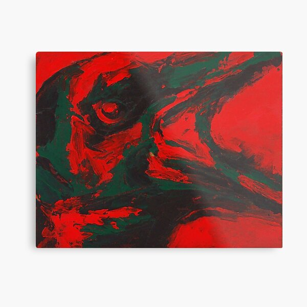 Angry Bird - Crow Painting Metal Print