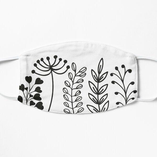 Flower pattern black and white Flat Mask