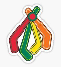 Blackhawks Feathers as hockey sticks Sticker