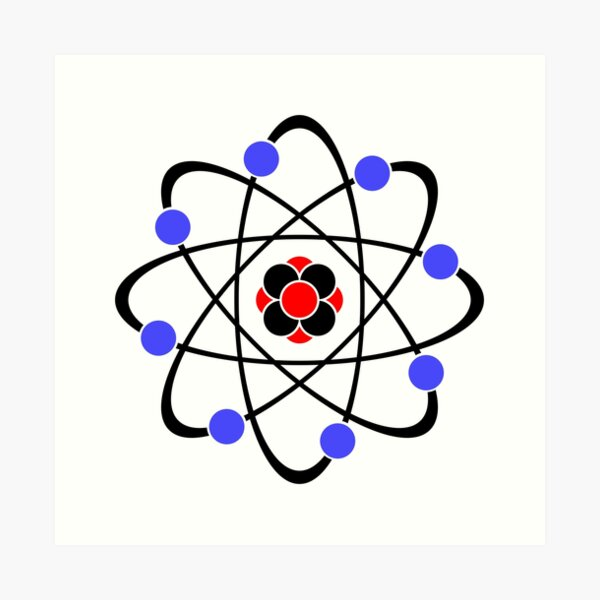 Atom logo symbol. Art Print