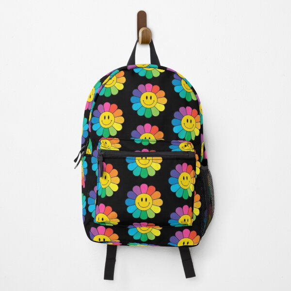 Happy Rainbow Flower   Pattern   Happy Face   Smiley   Black   Backpack