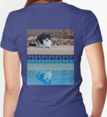 Groucho Marx Kitty-Pool Side Women's Fitted V-Neck T-Shirt