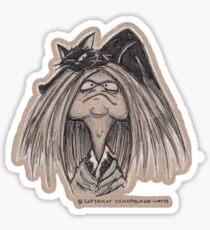 Cat head Witch Sticker