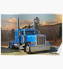 Blue peterbilt conventional. Poster