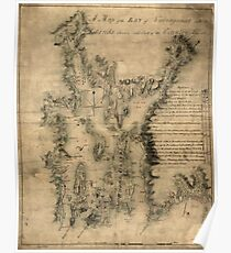 American Revolutionary War Era Maps 1750-1786 077 A map of the bay of Narraganset with the islands therein and part of the country adjacent Poster