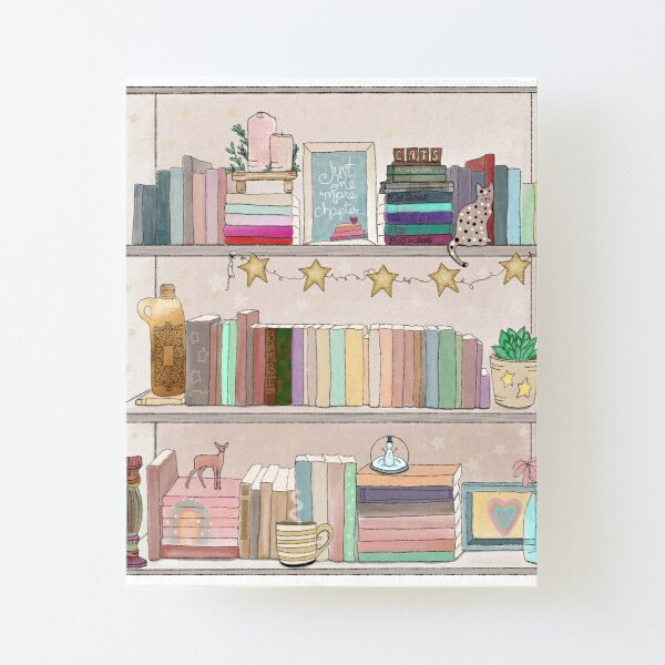 Boho Bear Book Shelf No. 1 Canvas Mounted Print