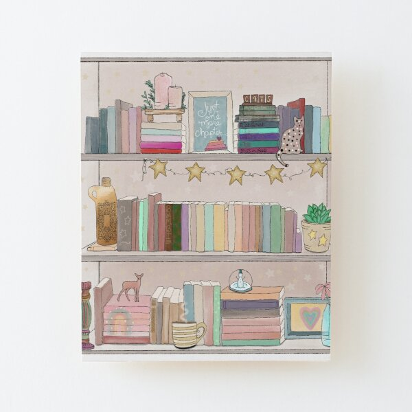 Boho Bear Book Shelf No. 1 Wood Mounted Print