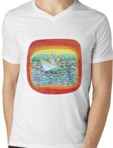 Sailing kids, colorful and imaginative watercolor.  Mens V-Neck T-Shirt