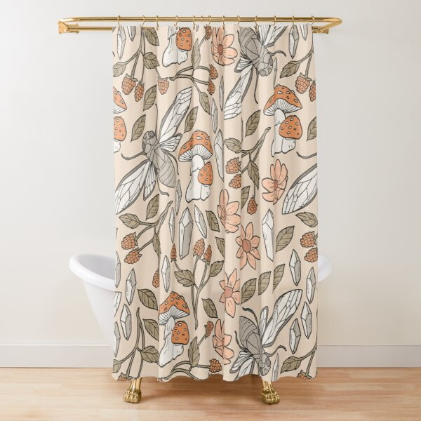 Cicada in the Forest Pattern Shower Curtain