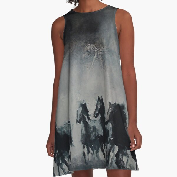 Raging - Horse Painting A-Line Dress