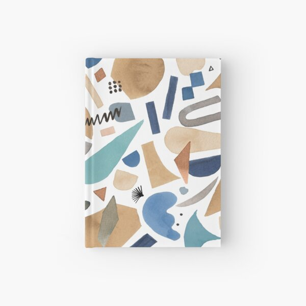 Geometric abstract print of pieces and shapes - Blue and ocher Hardcover Journal