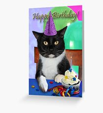 Birthday Black Cat Greeting Card