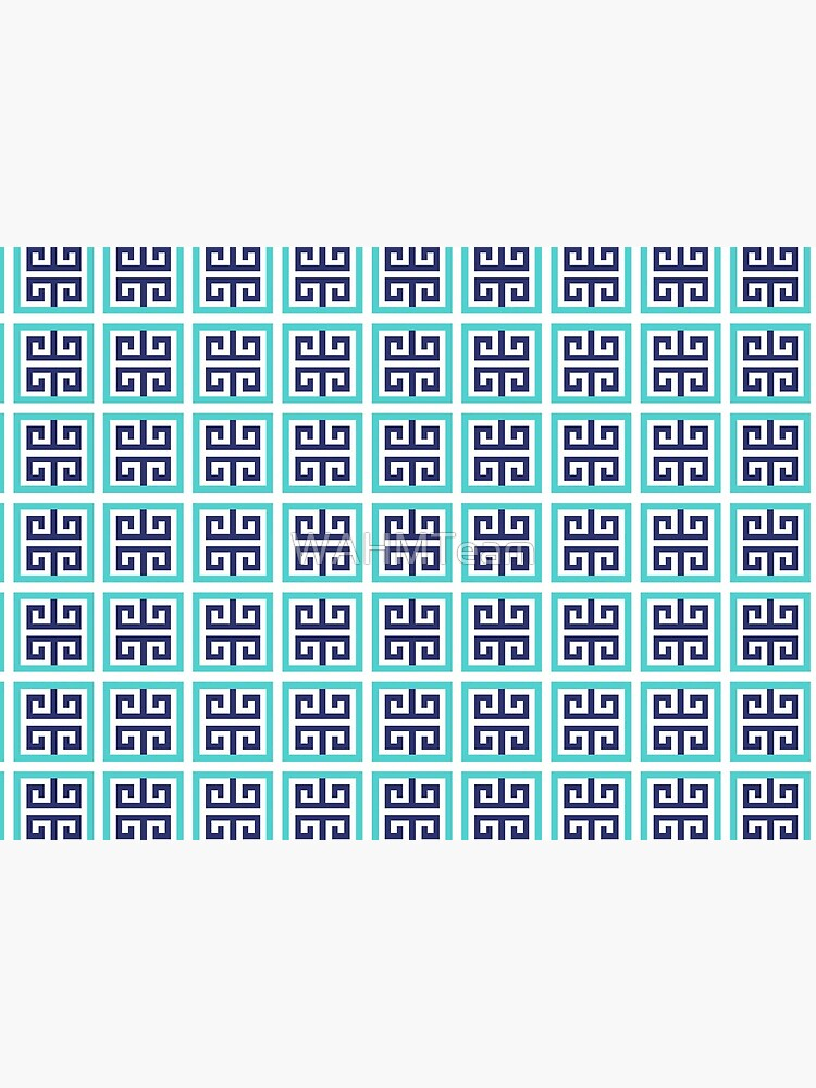 Blue Aqua Greek Key Pattern by WAHMTeam