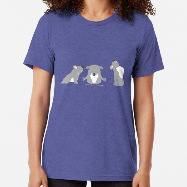 Yoga Koala Bear Yoga Poses Yellow and Grey Tri-blend T-Shirt
