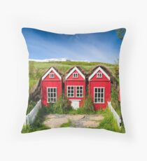Cute red elf houses in Iceland Throw Pillow