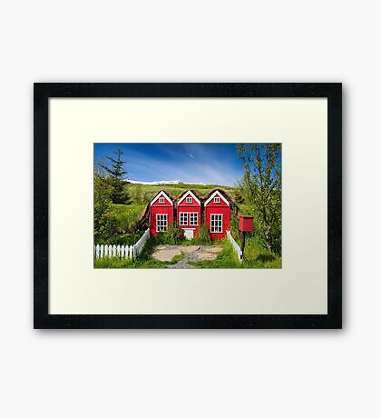 Cute red elf houses in Iceland Framed Print