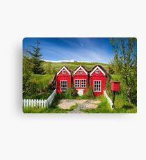 Cute red elf houses in Iceland Canvas Print