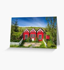 Cute red elf houses in Iceland Greeting Card
