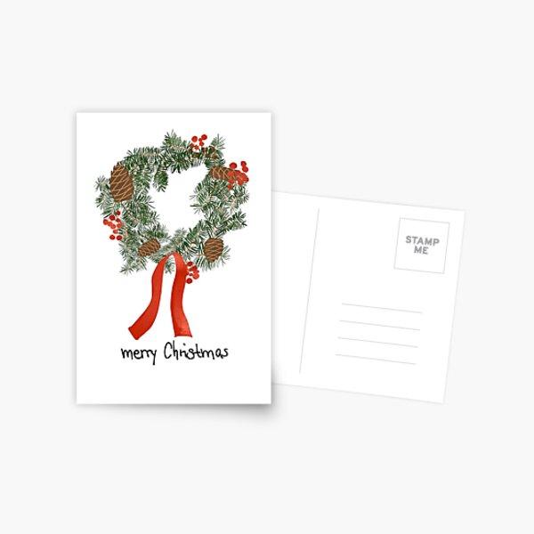 """christmas card """"wreath"""" Postcard"""