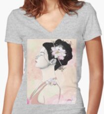 Woman with cherry blossom flowers Women's Fitted V-Neck T-Shirt