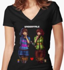 Undertale Mercy or Fight Women's Fitted V-Neck T-Shirt