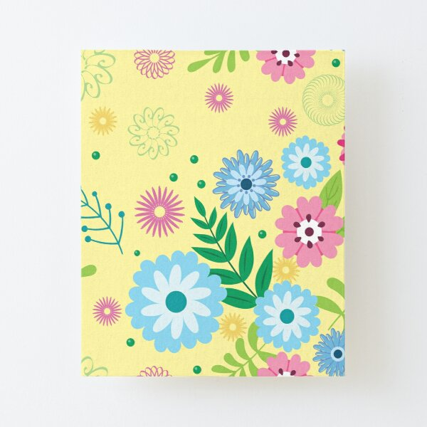 Floral Pattern on yellow background Canvas Mounted Print