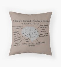 Funny Funeral Director's Brain Throw Pillow