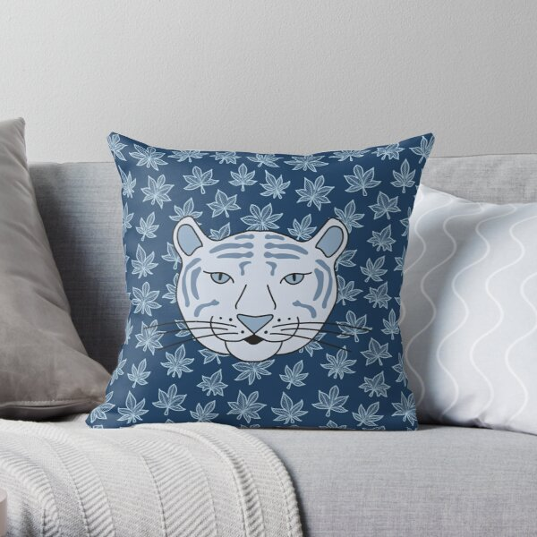 Cute Cartoon White Tiger Among Autumn Leaves - Blue Background Throw Pillow