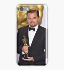 Leonardo DiCaprio with the Oscar (2) iPhone Case/Skin