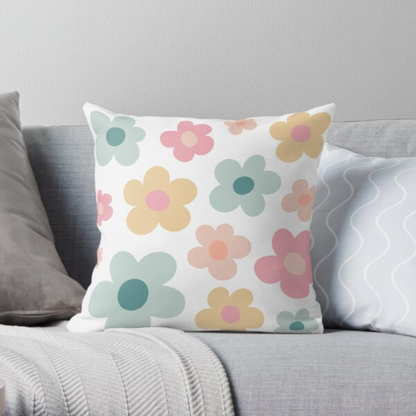 Flower Pattern Muted Pastel: Golf le Fleur Inspired Throw Pillow