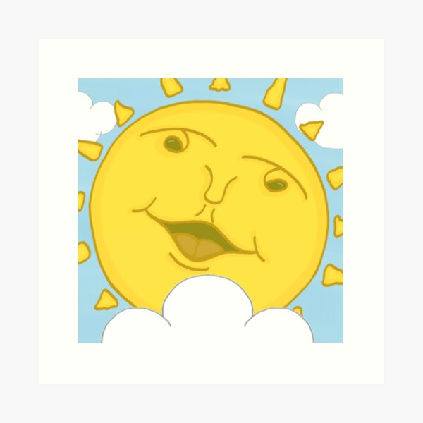 Smiling Sunshine Cartoon Art Print