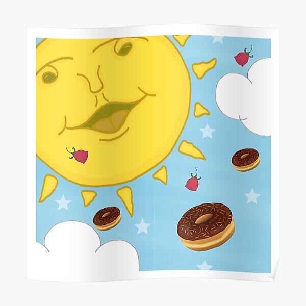 Sunshine, Chocolate Donuts & Red Roses Cartoon Poster