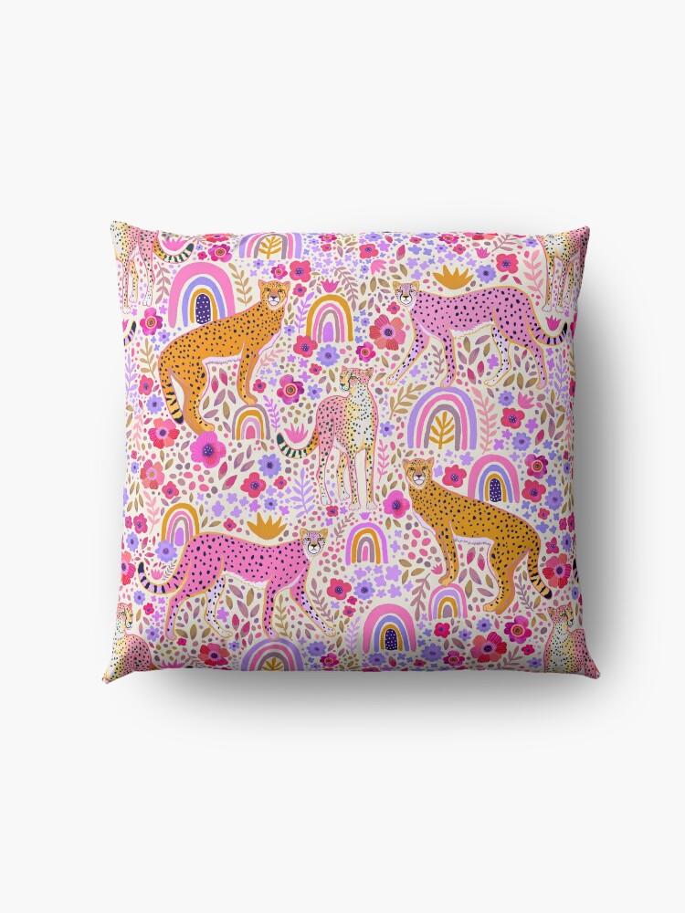 Alternate view of Cheetah's in a Rainbow Garden Floor Pillow
