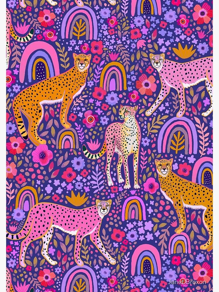 cheetahs in a Rainbow Garden on Navy Blue by jbroxon