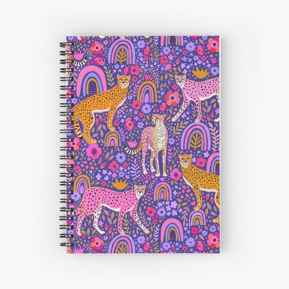 cheetahs in a Rainbow Garden on Navy Blue Spiral Notebook