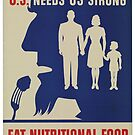 Eat Nutritional Food. U.S. needs US strong.  - Vintage WW2 Propaganda Poster .  by 321Outright