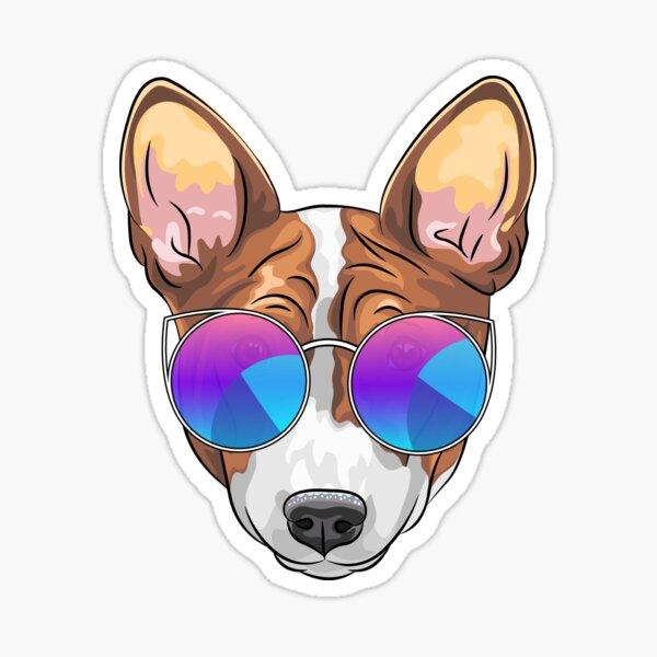 Hipster smiling dog Basenji  Sticker