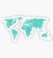 Pegatina Mapa del mundo acuarela azul y verde azulado