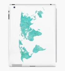 Blue and Teal Watercolor World Map iPad Case/Skin