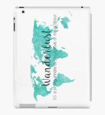 Wanderlust (n) Teal Watercolor World Map iPad Case/Skin