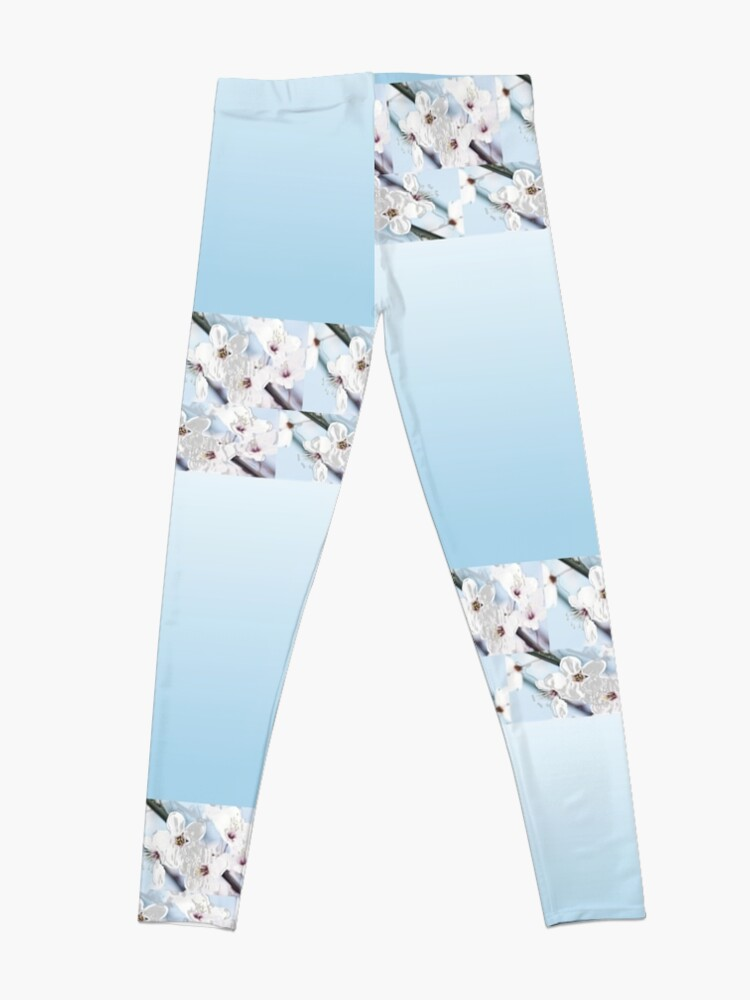 Alternate view of Baby blue background with white flowers as trim Leggings