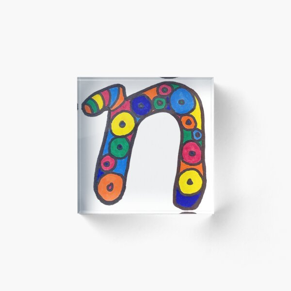 letter n in colorful circles Acrylic Block