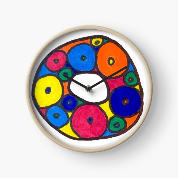 letter o in colorful circles Clock