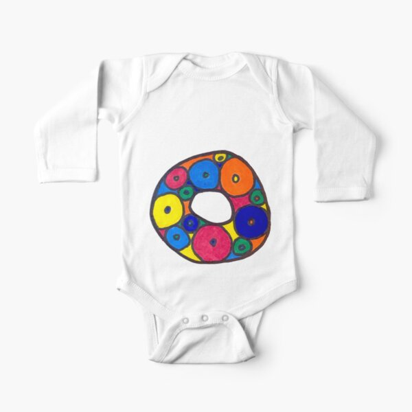 letter o in colorful circles Long Sleeve Baby One-Piece
