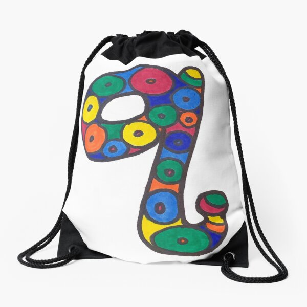 letter q in colorful circles Drawstring Bag