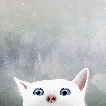 Curious White Cat by nannapaskesen