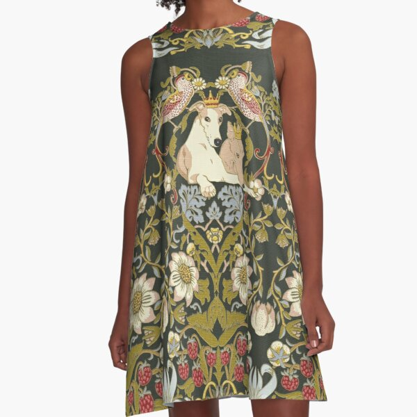 Whippets and Strawberry Thieves A-Line Dress
