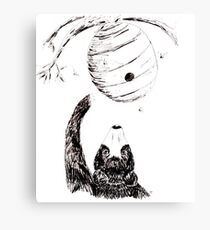 Beehive Black Bear Children's Illustration Ink Drawing Canvas Print