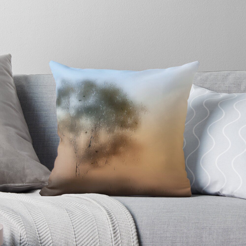 Meet Me At The Old Foggy Tree Throw Pillow